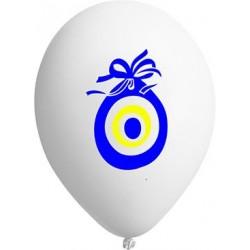 Nazar boncuklu beyaz Balon (100'lü)