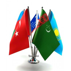Krom Beşli (5li) Türk Devletleri Masa Bayrağı