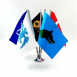 Krom Beşli (5li) Türk Dünyası Masa Bayrağı