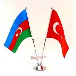 Çiftli Azerbaycan-Türkiye Bayrağı